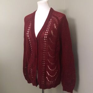 LOFT wine/burgundy open weave cardigan button down